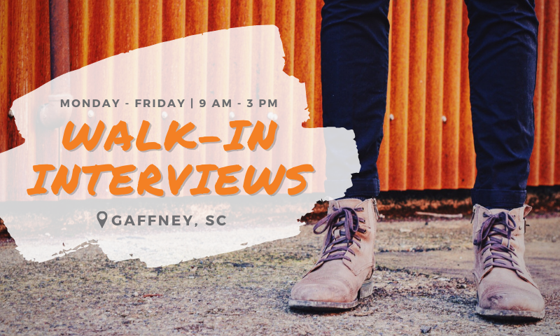 Spring Walk-in Interviews in Gaffney, SC
