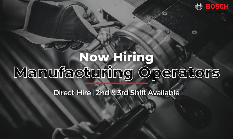 Now Hiring Direct-Hire Manufacturing Operators (2nd & 3rd Shift Available)