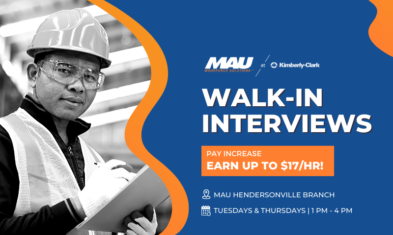 MAU Kimberly-Clerk Walk-in Interviews Pay Increaser Earn Up to $17 Per Hour in Hendersonville, North Carolina