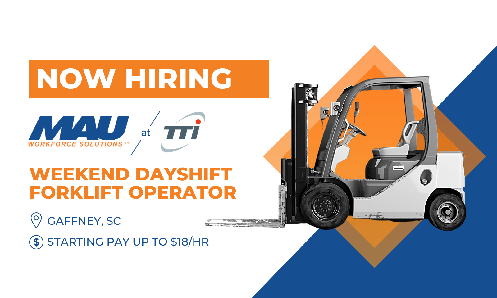 now hiring tti weekend dayshift forklift operator starting pay up to 18 per hour gaffney south carolina