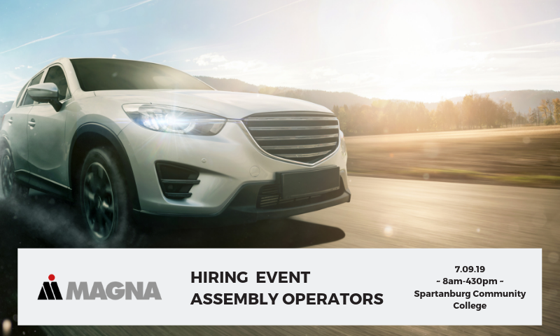 Copy of Copy of  Assembly Operator (Direct Hire) Magna Seating hiring event FB