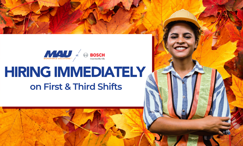 Join the MAU team at Robert BOSCH in Albion on First or Third Shift
