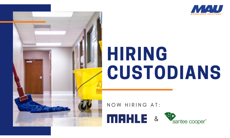 Immediate hire for custodians in the Charleston, SC area with MAU