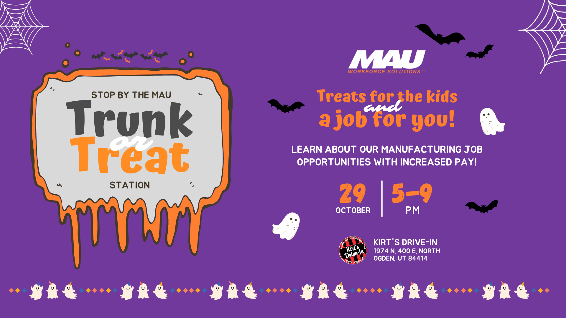 MAU is attending Kirt's Drive-in Trunk or Treat on October 29