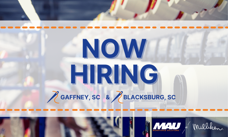 Now Hiring Machine Operators in Gaffney and Blacksburg, SC