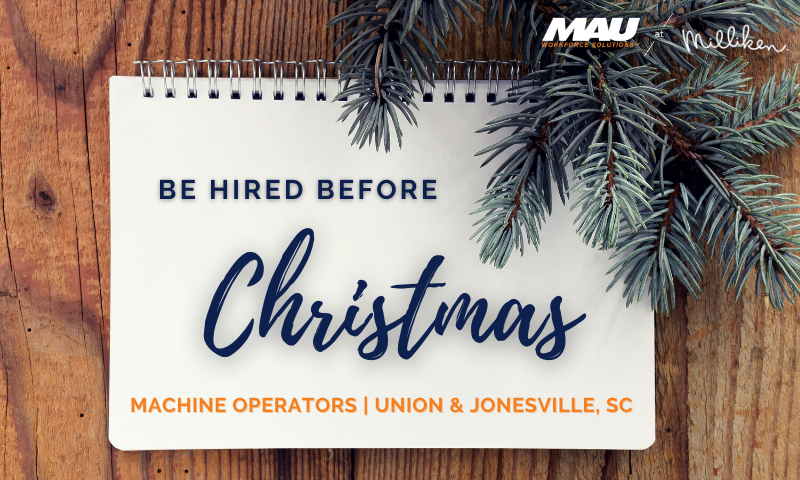 Be Hired Before Christmas - Machine Operators Wanted